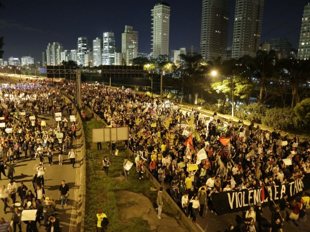 Protesters in Sao Paolo - Credit: AP