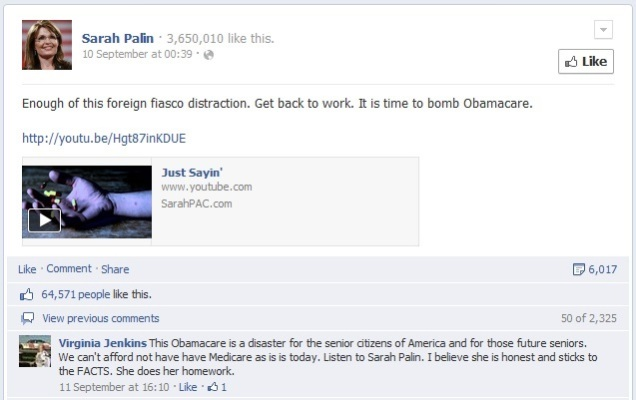 Palin rails against Obamacare in her usual eloquent, measured tones.