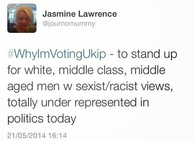 Jasmine Lawrence BBC UKIP bias tweet