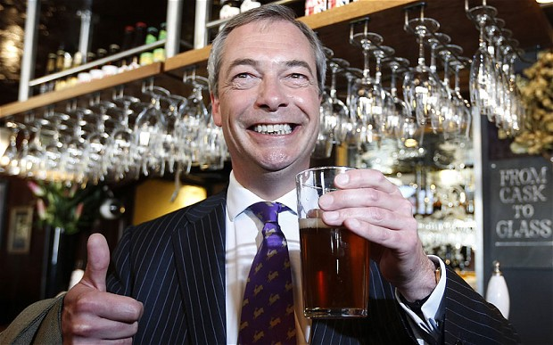 Nigel Farage Pint Elections 2014