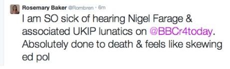 Rosemary Baker BBC election bias tweet