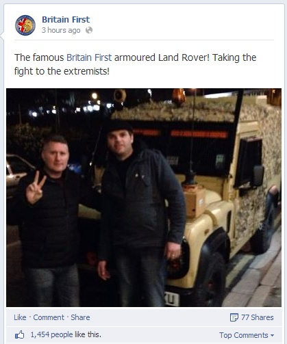 Britain First Armoured Land Rover