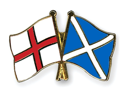 Scotland England crossed flags pin