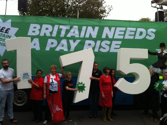 "The TUC's cryptic message to the press at the start of the ""Britain Needs A Pay Rise"" march"