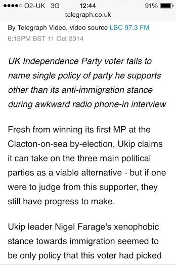 Telegraph UKIP bias immigration interview