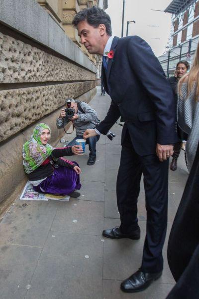 Ed Miliband beggar Manchester 2p