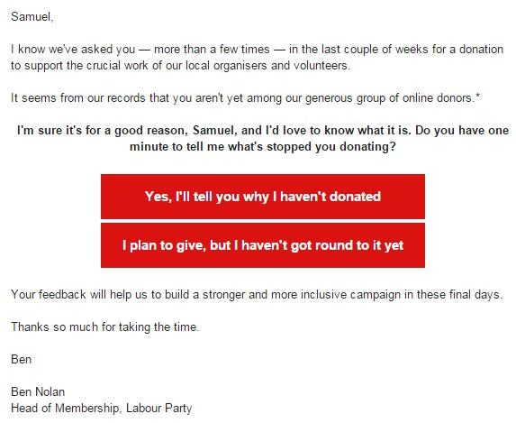 Labour Party - Fundraising Email - Ben Nolan - General Election 2015