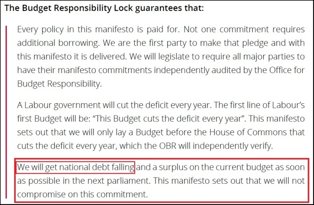 Labour Party General Election Manifesto 2015 - Budget Responsibility Lock - Debt and Deficit Confusion