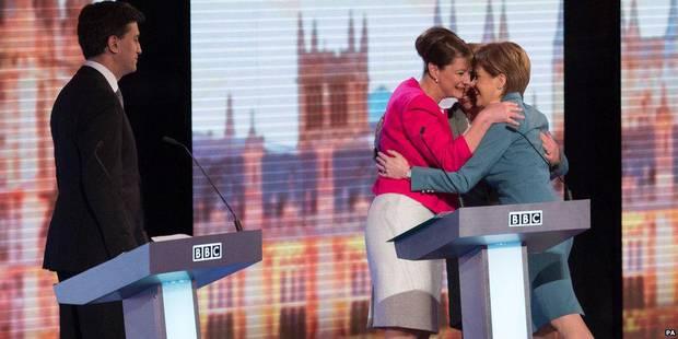 Natalie Bennett - Leanne Wood - Nicola Sturgeon - Ed Miliband - BBC Leaders Debate - Hug
