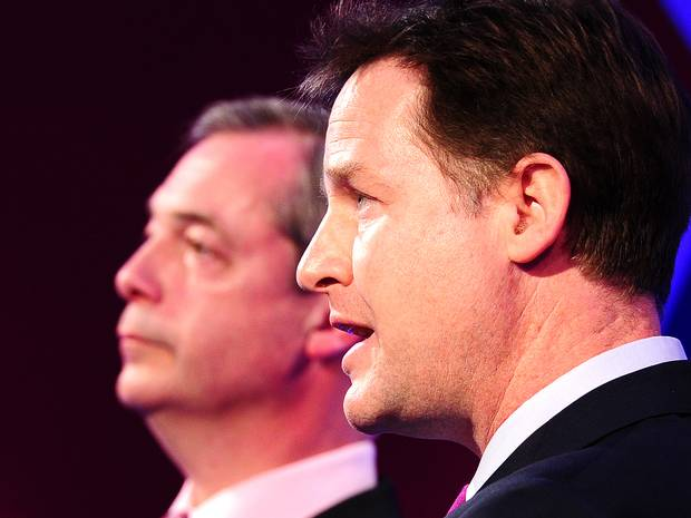 Nigel Farage Nick Clegg UKIP LibDem Coalition
