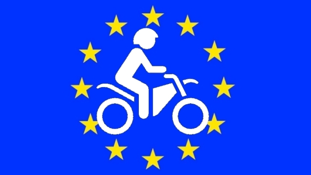 European Union EU Flag Motorbike