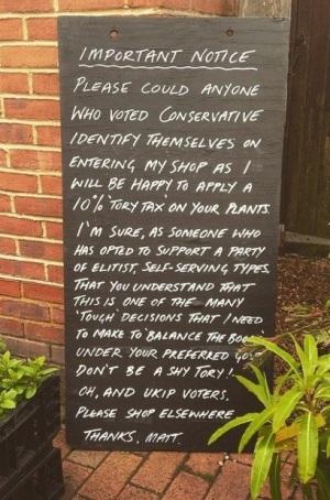 Matt Woodruff - Garden Centre - Conservatives - Anti Tory - Blackboard