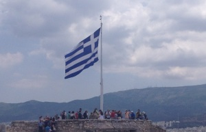 Greek Flag - EU - Euro Crisis - Acropolis