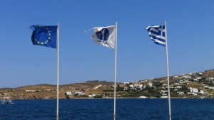 Greek Flag - EU Flag - Greece - EU - Euro Crisis