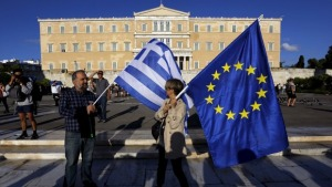 Greek Flag - EU Flag - Greece - Surrender - 2