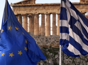 Greek Flag - EU Flag - Greece - Surrender