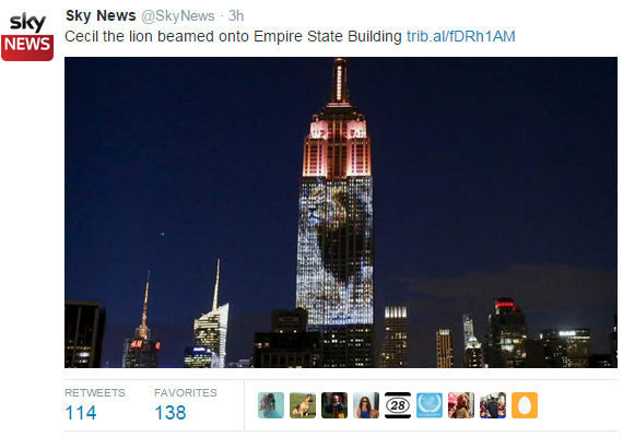 Cecil The Lion beamed onto Empire State Building