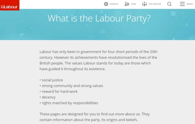 Labour Party Values - Leadership Election - Jeremy Corbyn
