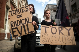 Bankers Toffs And Tory Scum - General Election 2015 - London Protests - Downing Street