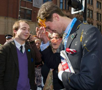 Tory Conference Protest Egged - 2