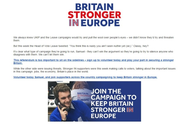 BSE - Britain Stronger in Europe - Crybabies