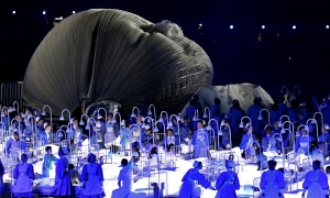 A scene from the Olympic opening ceremony celebrating the NHS