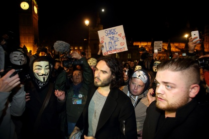 Russell Brand - Million Mask March - London 2015 - Parliament Square