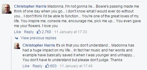David Bowie Death - Madonna Reaction - Facebook