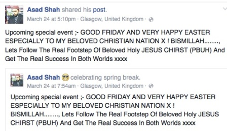 Asad Shah - Happy Easter message - Facebook - 2