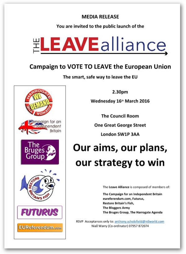 The Leave Alliance Launch