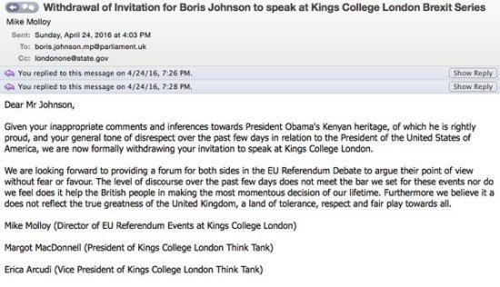 Boris Johnson - Kings College - Disinvitation - No Platformed - EU Referendum - Barack Obama