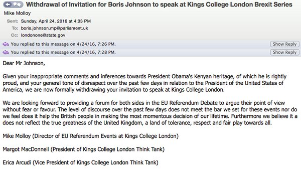 Boris Johnson - Kings College - Disinvitation - No Platformed - EU Referendum - Barack Obama