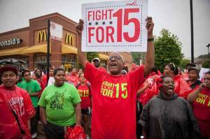 Fight for 15 protest - minimum wage - fast food