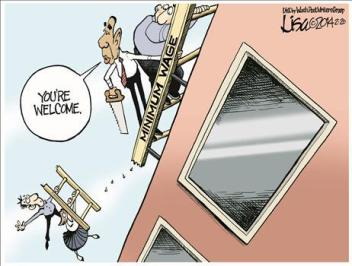 Minimum Wage cartoon - ladder