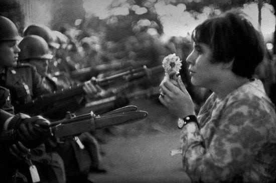 Vietnam War Protest - Hippies Flower Rifle Gun