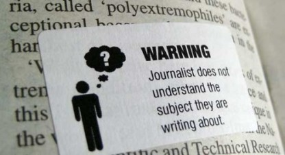 Warning - Journalist does not understand the subject they are writing about