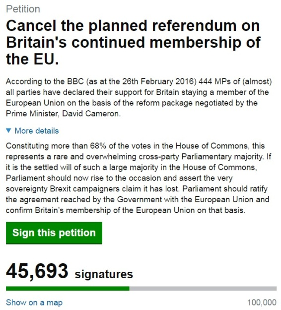 Cancel EU Referendum - Brexit - Remain - Parliament Petition