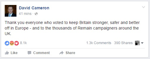 David Cameron EU Referendum Facebook