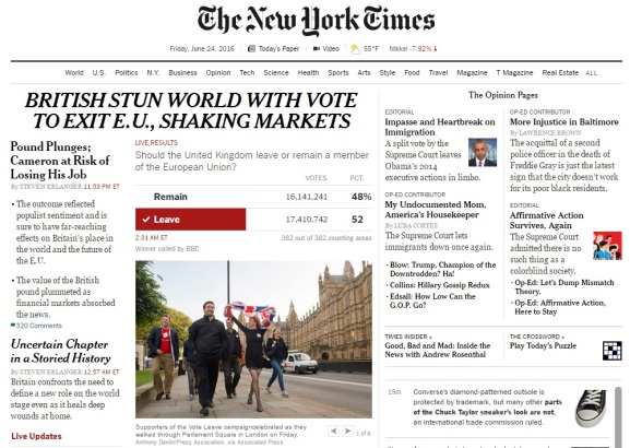 New York Times - Brexit - EU Referendum
