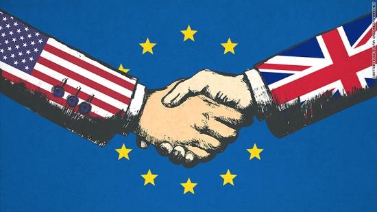 European Union - USA - UK British flags