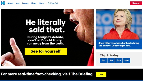 hillary-clinton-website-front-page-fact-check-presidential-debate