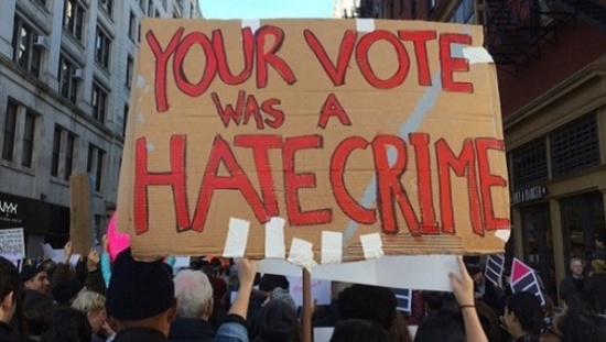 donald-trump-election-victory-protest-your-vote-was-a-hate-crime-banner