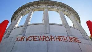 donald-trump-election-victory-protest-your-vote-was-a-hate-crime-graffiti