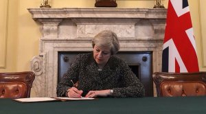 Theresa May signing Article 50 Letter - Downing Street - Brexit - EU