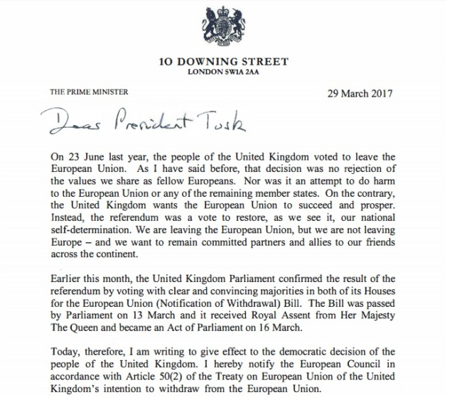 United Kingdom Britain EU Secession - Article 50 Letter - Downing Street - Theresa May - Donald Tusk - European Union