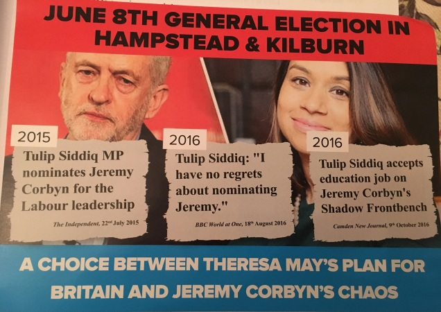 General Election 2017 - Hampstead and Kilburn Conservatives attack leaflet - Tulip Siddiq Labour Party Jeremy Corbyn - 1