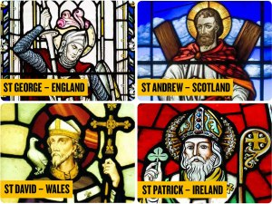 Patron Saints UK Britain - St George England - St Andrew Scotland - St David Wales - St Patrick Ireland