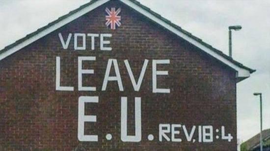 Brexit - Christianity - House mural - Revelation Chapter 18 verse 4 - EU Referendum