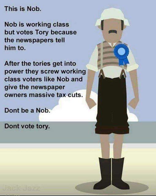 Dont be a Nob - Dont vote Tory - Working Class - Leftist sanctimony arrogance