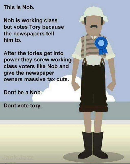 Dont be a Nob - Dont vote Tory - Working Class - Leftist sanctimony arrogance